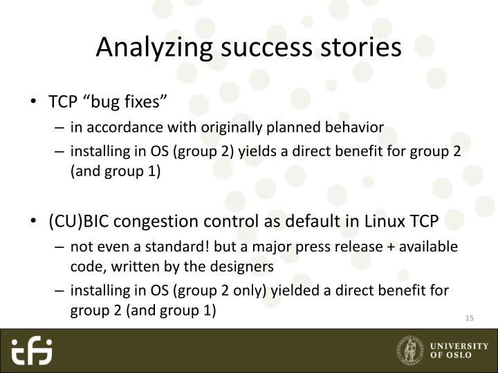 Analyzing success stories