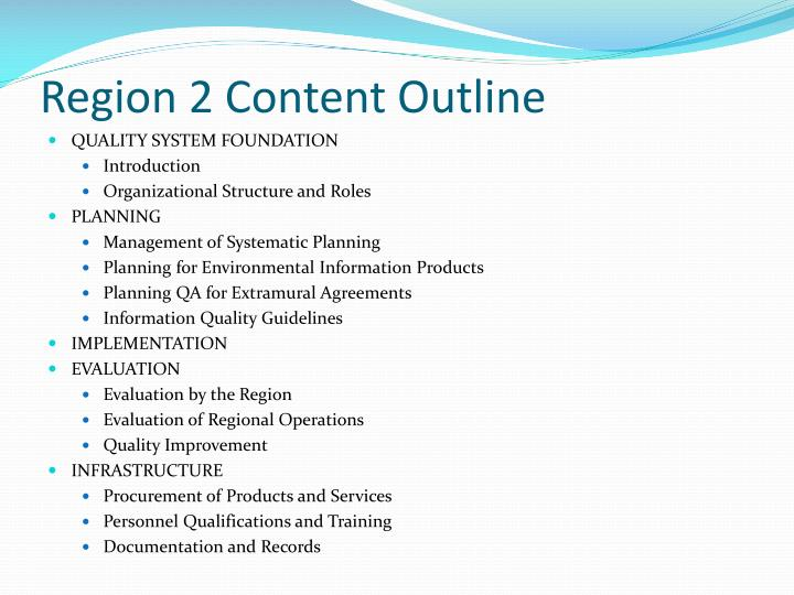 Region 2 Content Outline