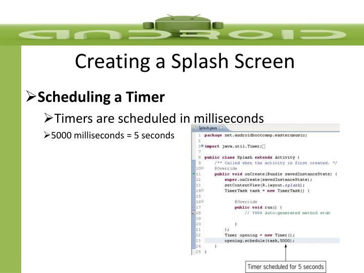 Creating a Splash Screen