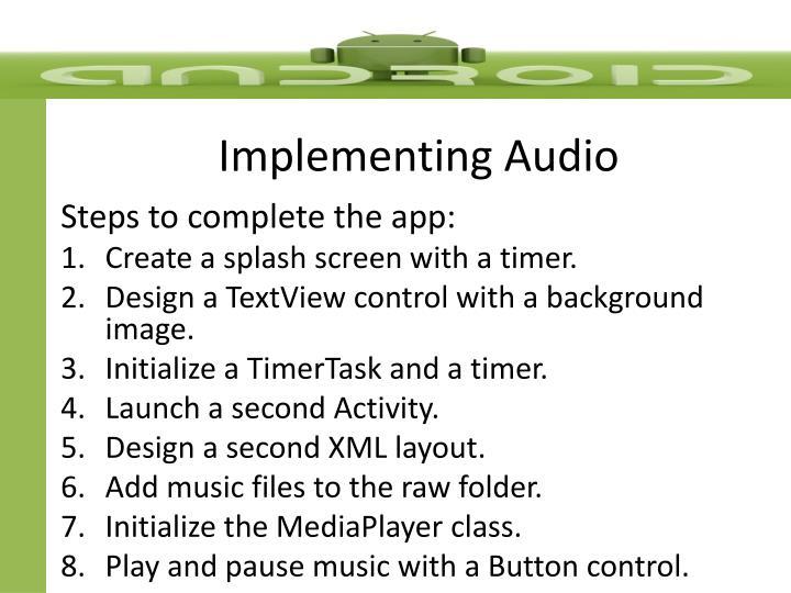 Implementing Audio