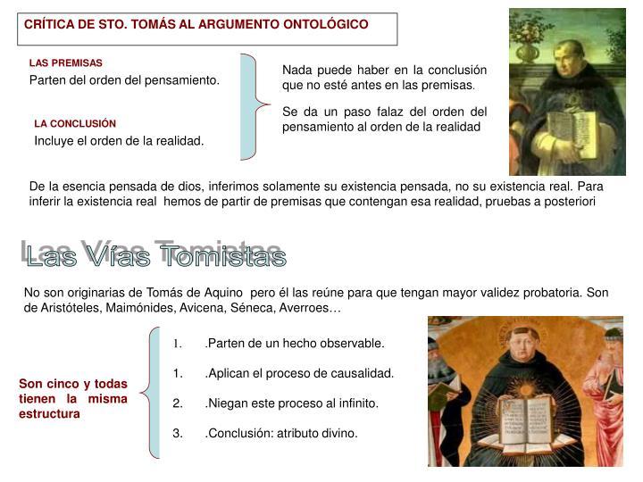 CRÍTICA DE STO. TOMÁS AL ARGUMENTO ONTOLÓGICO