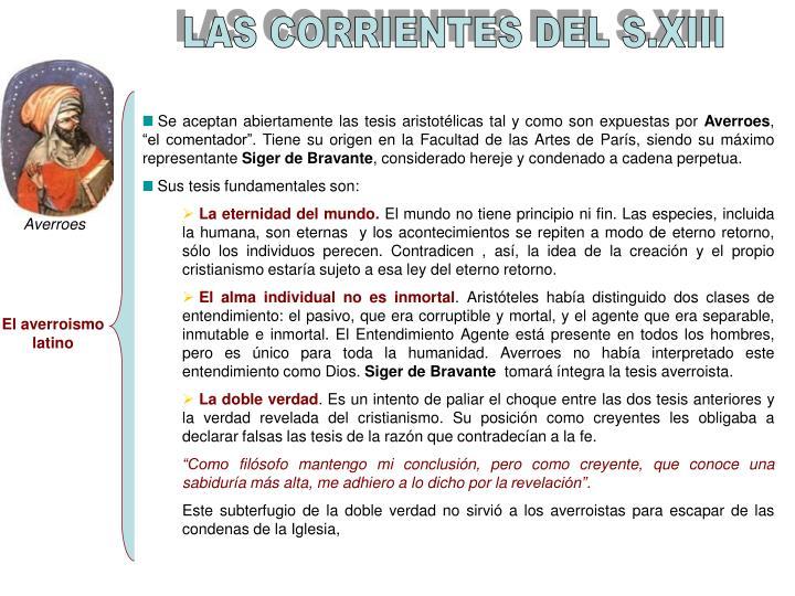LAS CORRIENTES DEL S.XIII