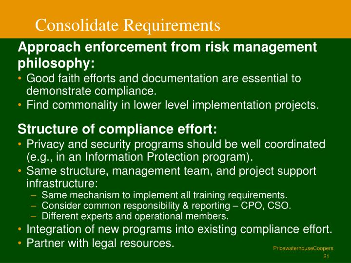 Consolidate Requirements