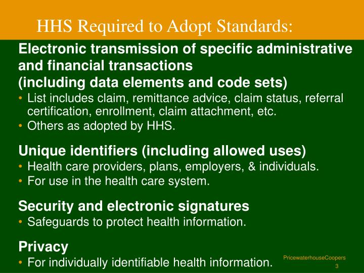 Hhs required to adopt standards