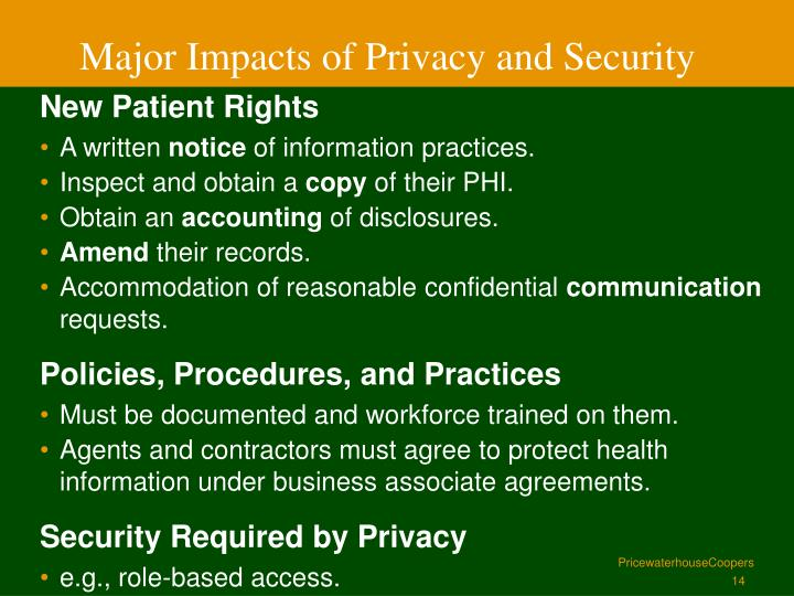 Major Impacts of Privacy and Security