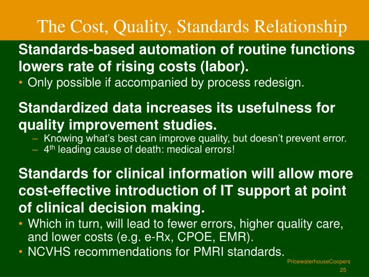 The Cost, Quality, Standards Relationship