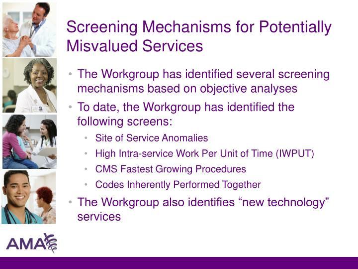 Screening Mechanisms for Potentially Misvalued Services
