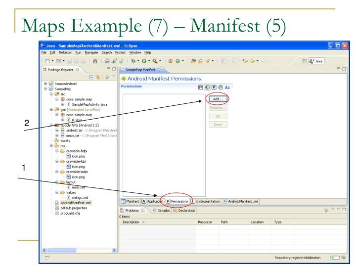 Maps Example (7) – Manifest (5)