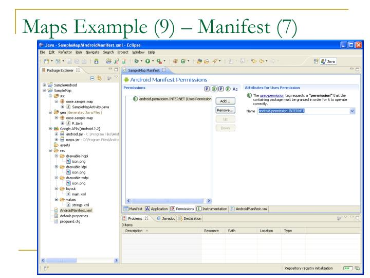 Maps Example (9) – Manifest (7)