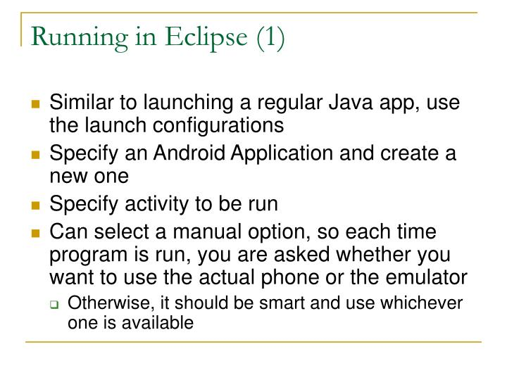 Running in Eclipse (1)
