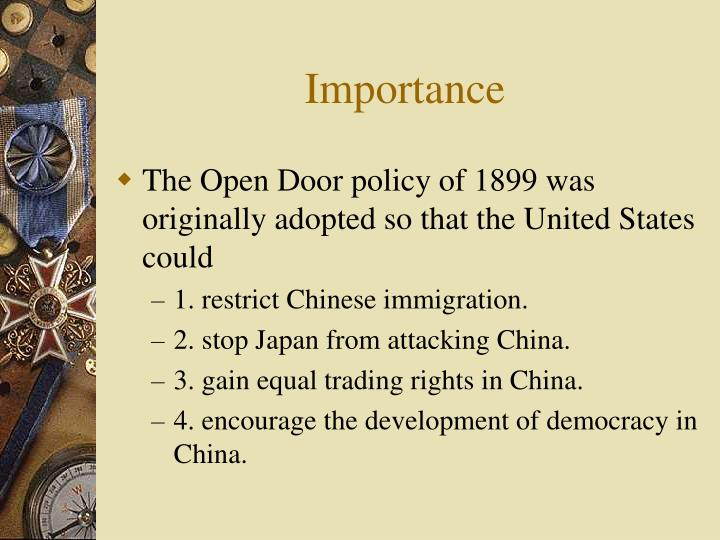 research paper s on america s open door policy with china beginning in 1889 Open door notes,boxer uprising,trading rights,president mckinley,american traders,spheres of influence,era of reform,foreign influence,open door the united states had long demanded an open door policy for trading in china, which was weak, in order to prevent other powers from carving up.