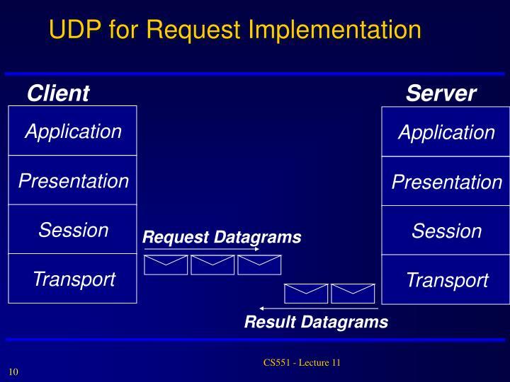 UDP for Request Implementation