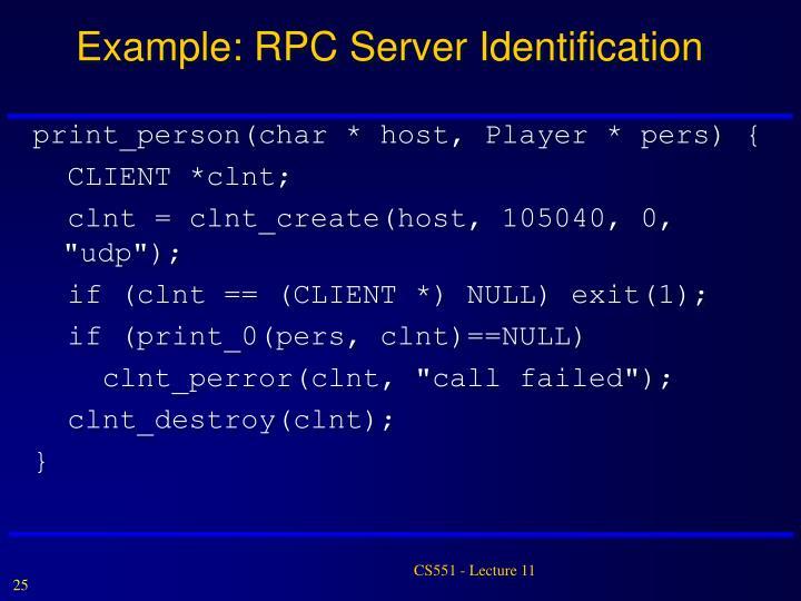 Example: RPC Server Identification