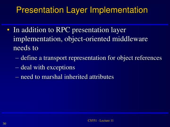 Presentation Layer Implementation