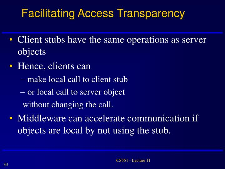 Facilitating Access Transparency