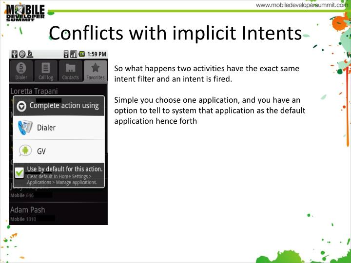 Conflicts with implicit Intents