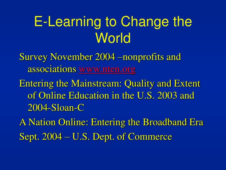 E-Learning to Change the World