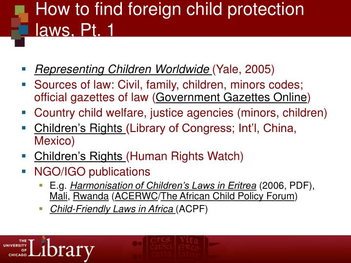 How to find foreign child protection laws, Pt. 1