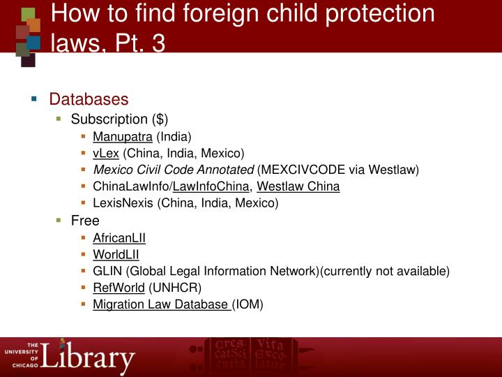 How to find foreign child protection laws, Pt. 3