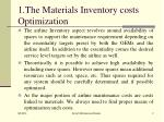 1 the materials inventory costs optimization