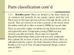 parts classification cont d