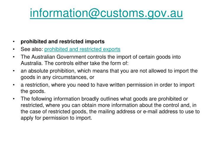 information@customs.gov.au