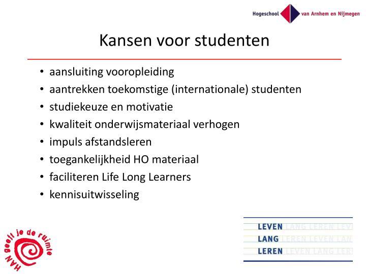 Kansen voor studenten