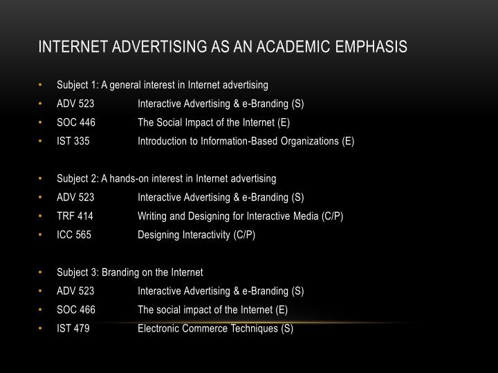 Internet Advertising as an academic emphasis