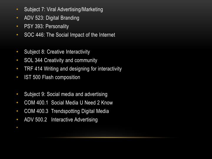 Subject 7: Viral Advertising/Marketing