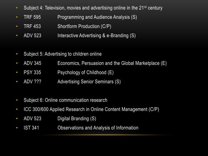 Subject 4: Television, movies and advertising online in the 21