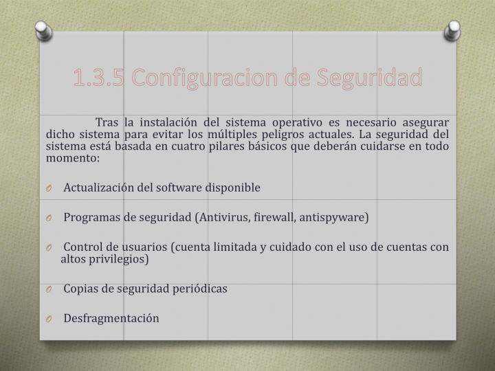 1.3.5 Configuracion de Seguridad