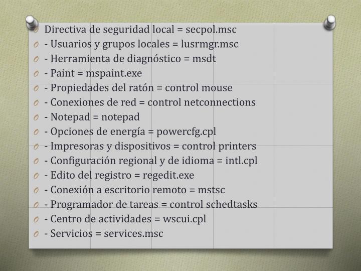 Directiva de seguridad local =