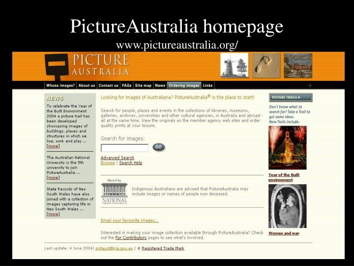 PictureAustralia homepage