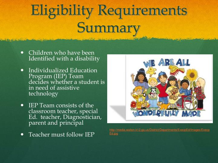 Eligibility Requirements Summary