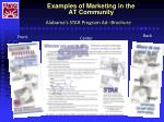 examples of marketing in the at community