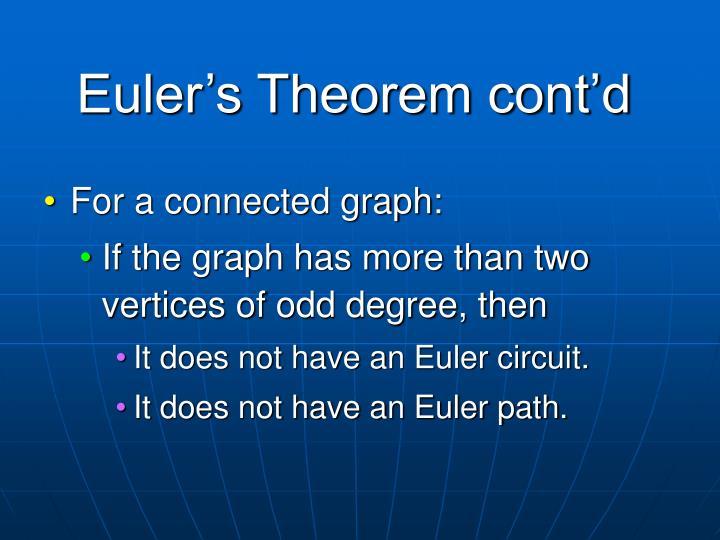 Euler's Theorem cont'd