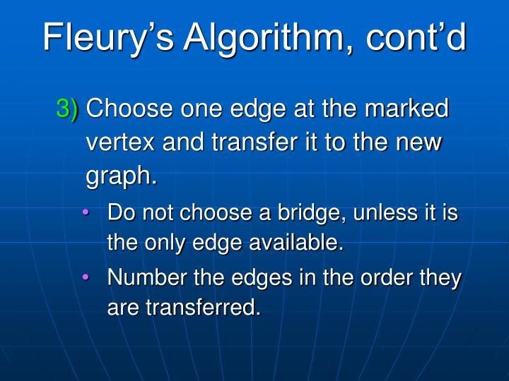 Fleury's Algorithm, cont'd