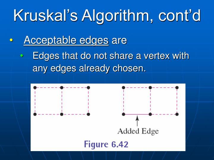 Kruskal's Algorithm, cont'd