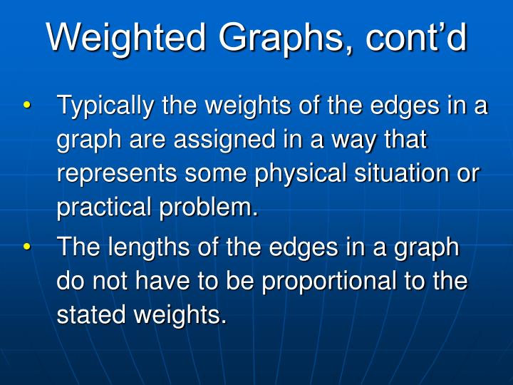 Weighted Graphs, cont'd