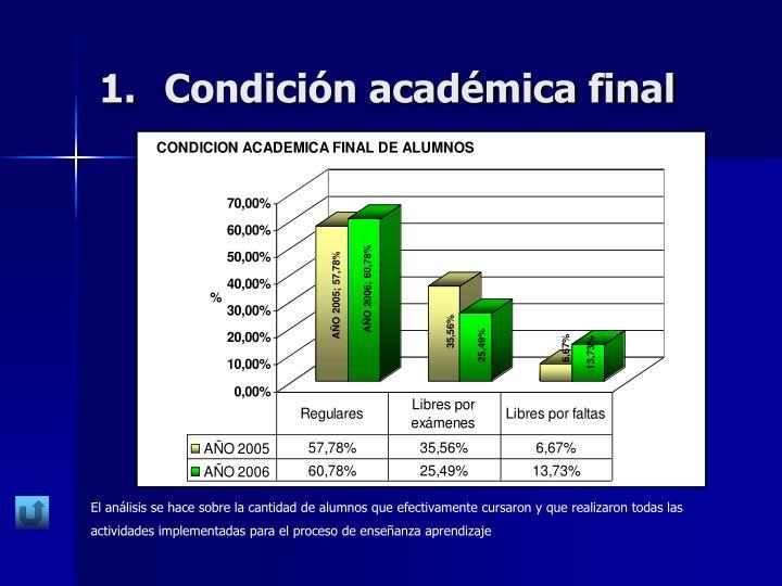 Condición académica final