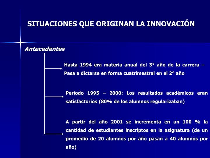 Hasta 1994 era materia anual del 3° año de la carrera – Pasa a dictarse en forma cuatrimestral en el 2° año