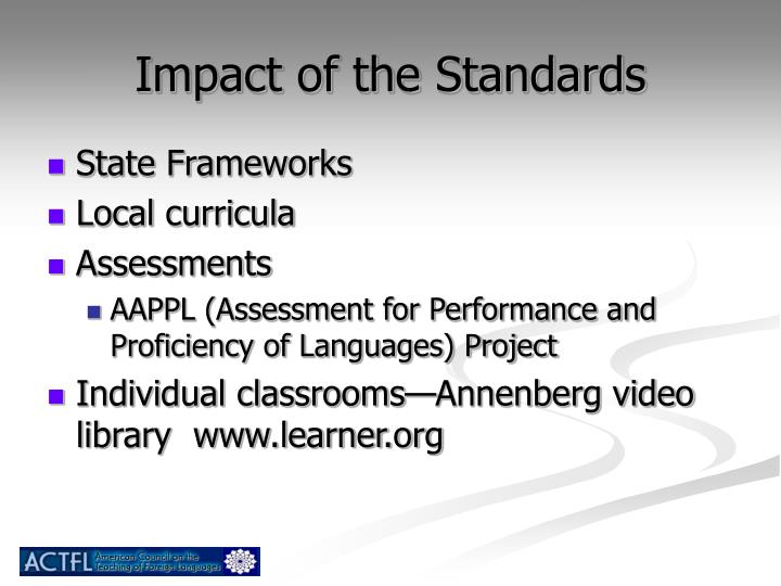 Impact of the Standards
