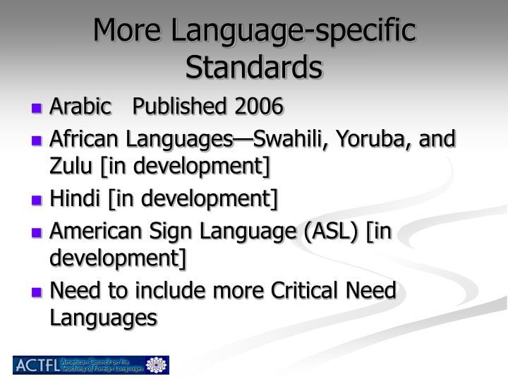 More Language-specific