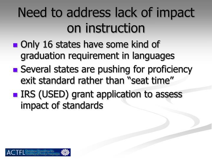 Need to address lack of impact on instruction