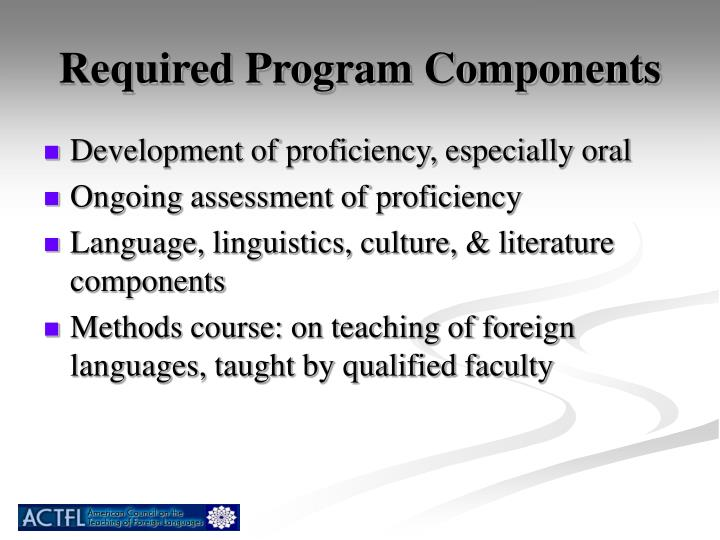 Required Program Components