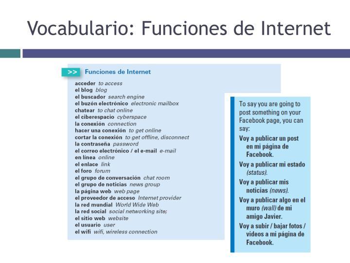 Vocabulario: Funciones de Internet