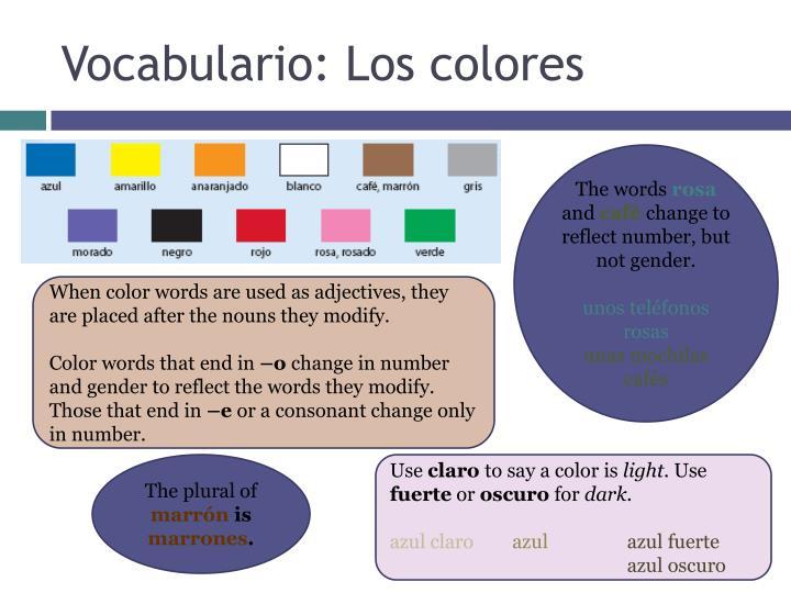 Vocabulario: Los colores