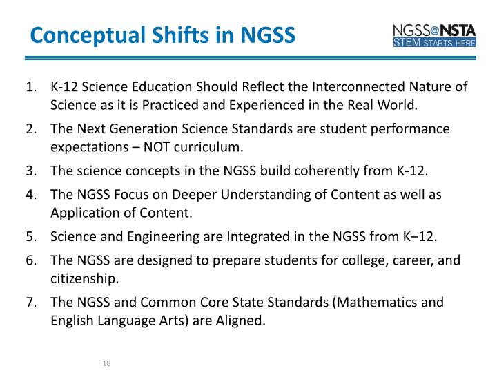 Conceptual Shifts in NGSS