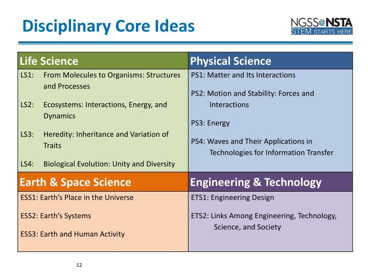 Disciplinary Core Ideas