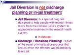 jail diversion is not discharge planning or in jail treatment